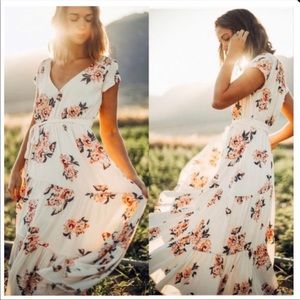 Free People All I Got Floral Maxi Dress Ivory